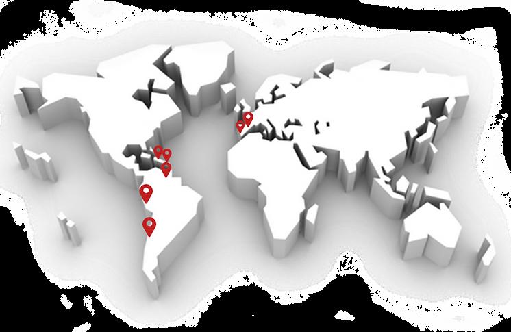 Mapa de países donde exporta Cervecería Regional