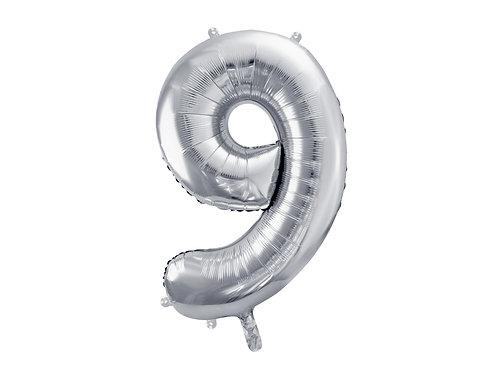 """Fóliový balónek """"9"""" 86 cm - stříbrný"""