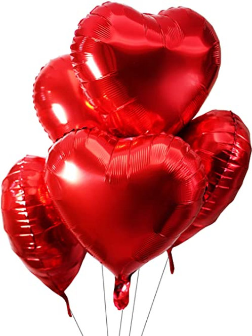 Buket červených srdcí 5 ks - již s héliem