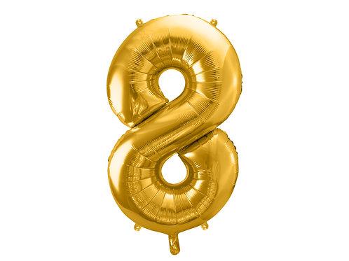 """Fóliový balónek """"8"""" 86 cm - zlatý"""