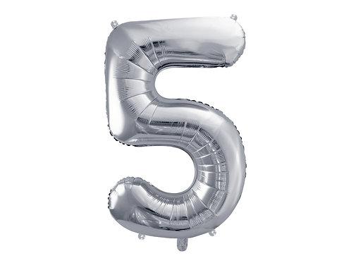 """Fóliový balónek """"5"""" 86 cm - stříbrný"""