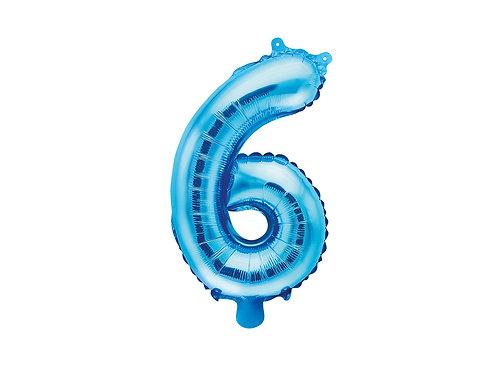 "Fóliový balónek ""6"" 35 cm  - modrá"