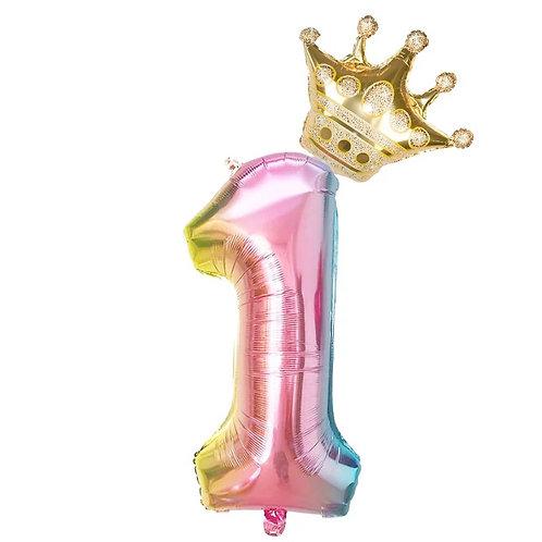 "Fóliový balónek ""1"" 86 cm - duhový"