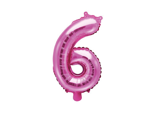 "Fóliový balónek 35 cm ""6"" - tmavě růžová"