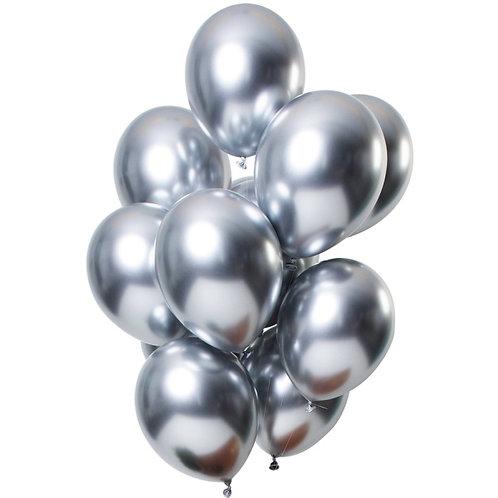 Set 10 ks lesklých balónků s héliem - stříbrný