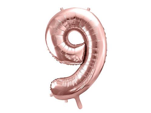 "Fóliový balónek ""9"" 86 cm - rose gold"