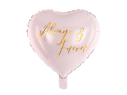 "Fóliový balónek - růžové srdce ""Always & Forever"""