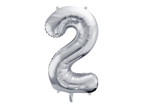"""Fóliový balónek """"2"""" 86 cm - stříbrný"""