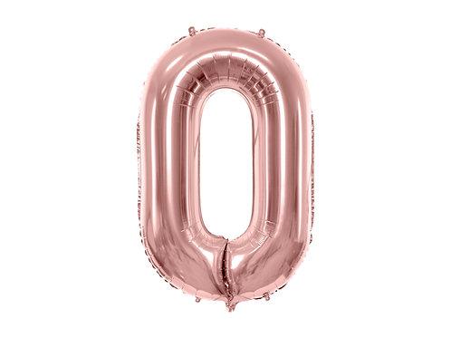 "Fóliový balónek ""0"" 86 cm - rose gold"
