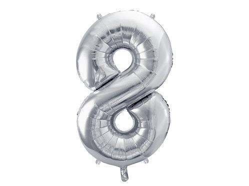 """Fóliový balónek """"8"""" 86 cm - stříbrný"""