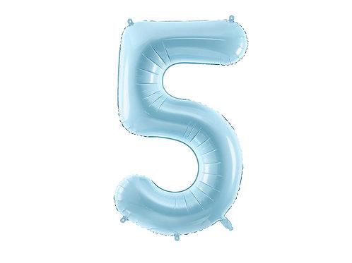 "Fóliový balónek ""5"" 86 cm - light blue"