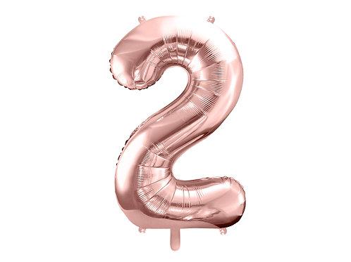 "Fóliový balónek ""2"" 86 cm - rose gold"