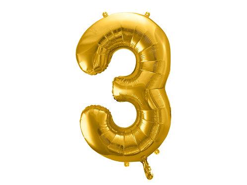 """Fóliový balónek """"3"""" 86 cm - zlatý"""