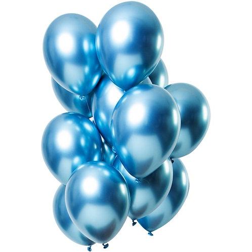 Set 10 ks lesklých balónků s héliem - modrý