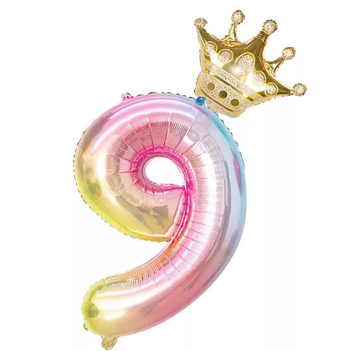 "Fóliový balónek ""9"" 86 cm - duhový"