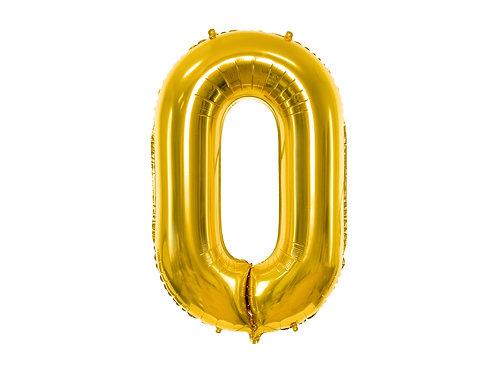 """Fóliový balónek """"0"""" 86 cm - zlatý"""