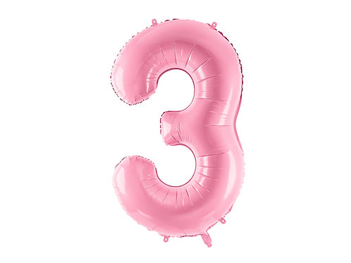 "Foliový balónek ""3"" 86 cm - candy pink"