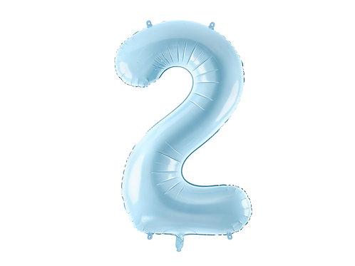 "Fóliový balónek ""2"" 86 cm - light blue"