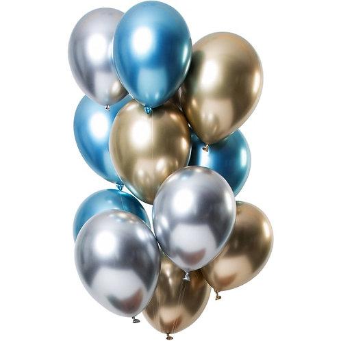 Set 10 ks lesklých balónků s héliem - mix (stříbrná, zlatá, modrá)