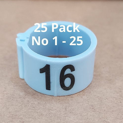 16mm Numbered Clip on Leg Rings - 25 pack