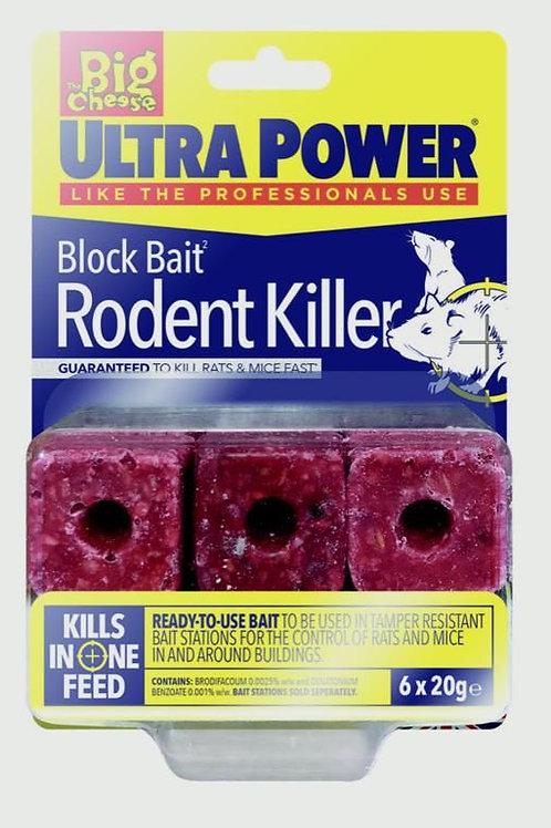 Block bait rodent killer 6x 20g refill