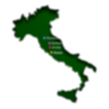 Map showing location of Orvieto in relation to major cities in Italy