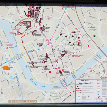 map of Kazimierz, the old Jewish Quarter in Krakow
