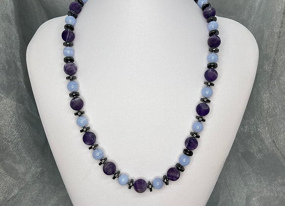 Blue Lace Agate with Sage Amethyst