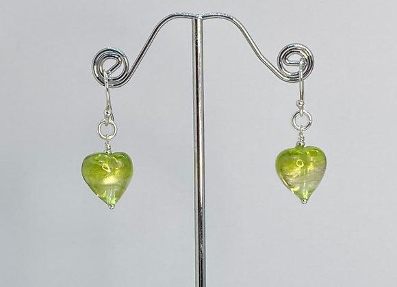 Murano Foil Heart Earrings