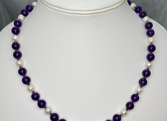 Amethyst with Freshwater Pearl