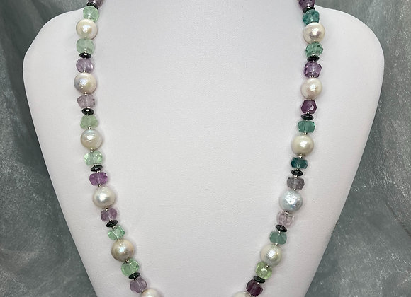 Freshwater Pearls with Fluorite