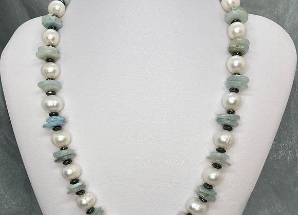 Freshwater Pearls with Aquamarine Slices and Hematite