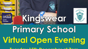 Virtual Open Evening on Tuesday 15th December at 7pm
