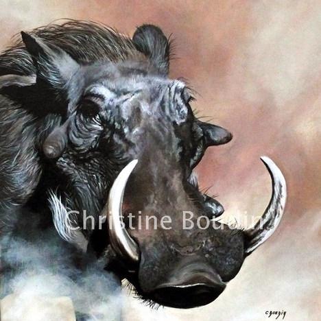 phacochère  Peinture de l'artiste Christine Boudin
