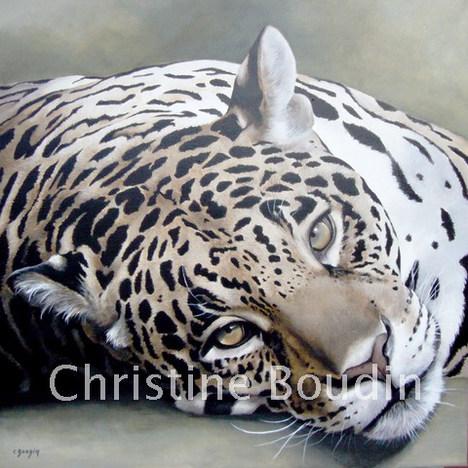 Léopard couché  Peinture de l'artiste Christine Boudin