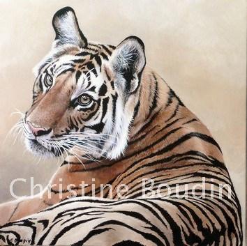 portrait tigre  Peinture de l'artiste Christine Boudin