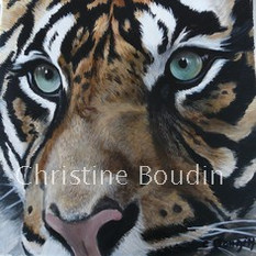 Portrait tigre 8  Peinture de l'artiste Christine Boudin