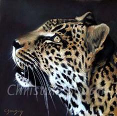 Léopard 17  Peinture de l'artiste Christine Boudin