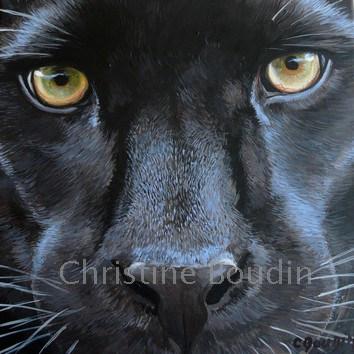 Portrait panthère  Peinture de l'artiste Christine Boudin