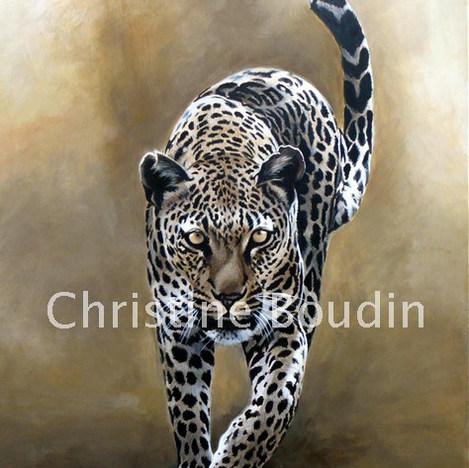 Léopard marche  Peinture de l'artiste Christine Boudin