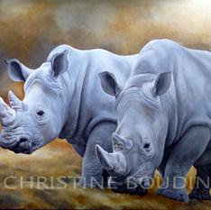 Rhinoceros  Peinture de l'artiste Christine Boudin