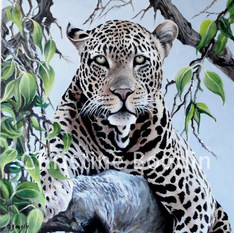 Léopard arbre 3  Peinture de l'artiste Christine Boudin