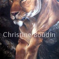 Lionne arbre  Peinture de l'artiste Christine Boudin