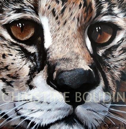 Portrait Serval  Peinture de l'artiste Christine Boudin