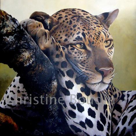 Léopard arbre 5  Peinture de l'artiste Christine Boudin