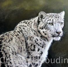Panthère des neiges  3  Peinture de l'artiste Christine Boudin