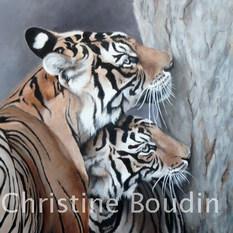 Tigres 4  Peinture de l'artiste Christine Boudin