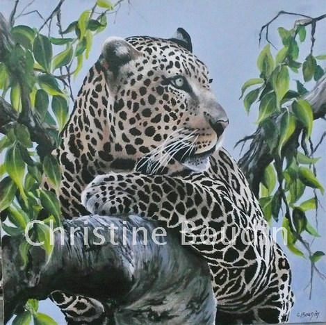 Léopard arbre 1 Peinture de l'artiste Christine Boudin