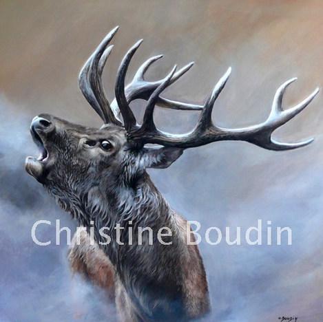 Cerf  Peinture de l'artiste Christine Boudin