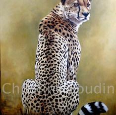Guépard assis  Peinture de l'artiste Christine Boudin